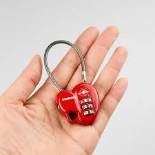 <b>MUNKEES</b> TSA Resettable 3 Digit <b>Combination Lock</b> Heart Shape ...