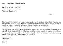 Extension Maternity Leave Application Sample