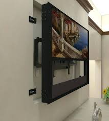 gallery frame tv cover motorized art installation in a recessed wall with mount decor 4 diy gallery frame tv