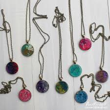 crayon marbled pendants with jewelry