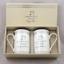 25th anniversary gift set of 2 china mugs 25 wonderful years