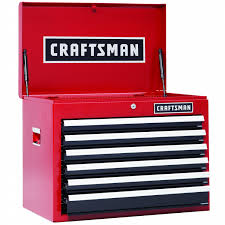 Craftsman 6 Drawer Rolling Cabinet Craftsman 26 In 6 Drawer Heavy Duty Ball Bearing Top Chest Red