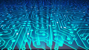 Fly Over Data Stream Transfer Communications Abstract Circuit Board