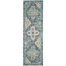 safavieh evoke light blue ivory 2 ft x 11 ft runner rug