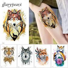 24 Vzory 1 List Zvířecí Tetování Samolepka Vlk Tygr Chladné Vzor Dočasné Vodotěsné Tělo Umění Tetování Barevné Kreslení At Vova