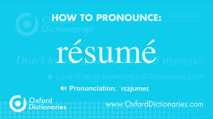 Resume Pronounce How to pronounce résumé YouTube 1
