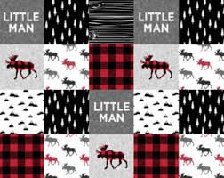 Baby quilt fabric | Etsy & Little Man Nursery Quilt Fabric by the Yard Cotton Red Plaid Woodland  Cheater Quilt Moose Baby Adamdwight.com