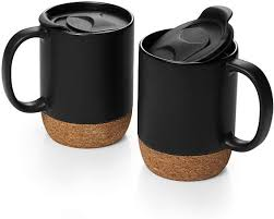Skip to main search results. Amazon Com Dowan Coffee Mugs Set Of 2 15 Oz Ceramic Mug With Insulated Cork Bottom And Splash Proof Lid Large Coffee Mug With Handle For Men Women Matte Grey Kitchen Dining