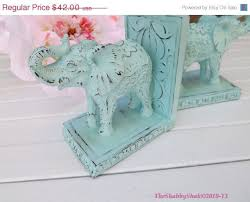 holiday sale elephant book ends shabby chic office decor elephant statue aqua chic mint teal office