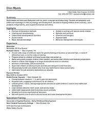 Resume For Babysitting Resume Babysitter Templates Objectives For