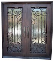 elite 2773 61 x81 iron door square top rain glass left
