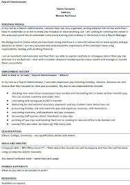 Payroll Administrator Cv Example - Icover.org.uk