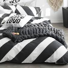 black white diagonal stripe duvet cover set striped bedding