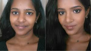 hallow eyes with lips makeup for dark indian skin tone