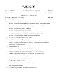 Tech resume. HUGH T. KNIGHT SharePoint Power User 12811 Lauren's Ridge Rd  http://www ...