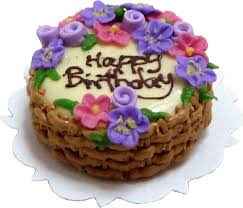 Happy Birthday Cake Flowers In Basketminiature Marketplace