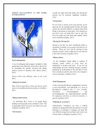 stress management in the work environment brochure