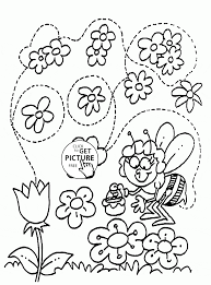 Small Picture Funny Bee and Flowers Spring coloring page for kids seasons
