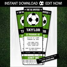 Soccer Party Invitation Template Soccer Invitations Soccer Ticket Invitation Soccer Party