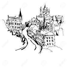 Vettoriale In Bianco E Nero Disegno Schizzo Della Discesa Di