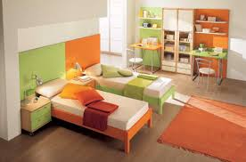 modern colorful furniture. Colorful Modern Twin Kids Green Orange Bedroom Decor And Furniture Ideas