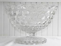 vintage 12 american fostoria clear glass center table footed fruit bowl