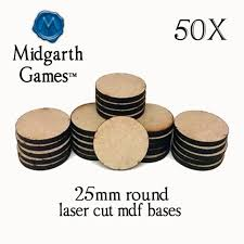 50 round 1 inch mdf miniature bases 3mm thick laser cut tabletop warhammer