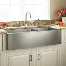 stainless steel farmhouse sink. Simple Sink Signature Hardware 340105 Ackerman 42u0026quot 6040 Offset Double Basin Stainless  Steel Farmhouse Sink For