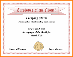 Employee Of The Month Certificate Templates Employee Of The Month Certificate Template With Picture 30