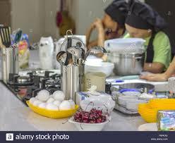 Cooking School Ingredients And Cooking Utensils Oт Table Children