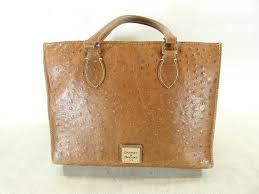 auth brown ostrich leather dooney bourke purse