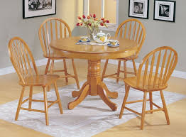 com 5pc country style oak finish wood round dining table 4 windsor chair set kitchen dining