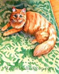 cat puzzle rug cat puzzle rugs long haired orange cat on green rug watercolor painting by