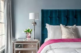 contemporary blue and gray bedroom is