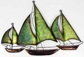 >metal wall art green blue fleet of boats
