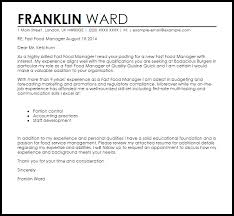 quick cover letters fast food manager cover letter sample cover letter templates