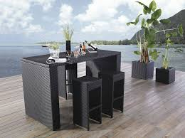 outdoor 5 piece steel wicker patio bar set