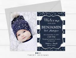 Boy Birth Announcement Baby Thankyou Card Navy Boy Birth