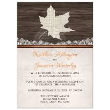only invitations rustic autumn wood leaf orange Wedding Reception Only Invitations reception only invitations rustic autumn wood leaf orange wedding reception only invitations wording