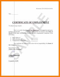 Certificate Of Employment Format Employment Certification Letter