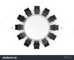 table and chairs top view. round table and black office chairs in meeting room, top view