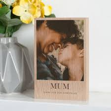 personalised solid oak wooden photo block 50th birthday gifts