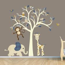 cream tree decal denim color boy room wall decal jungle animal inspiration of baby room decals for walls on jungle wall art for baby room with kids room cream tree decal denim color boy room wall decal jungle