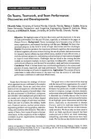 salas et al teams teamwork and team performance golden anniversary special issue on teams teamwork and team performance discoveries and developments