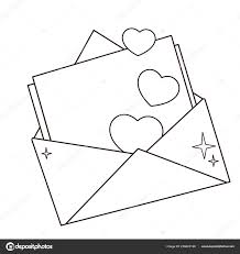 Disegni Colorare Pagina Muta Saluto Lettera Con Cuori Giorno San