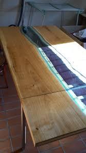 Kirschholztisch Mit Verlängerung Und Flußeinlage In Glas Esstisch
