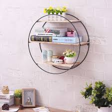 round wood metal wall shelf rack storage retro industrial style home decoration