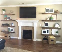 They built some shanty floating shelves for each side of her fireplace!   Free plans to build your own are on our site!