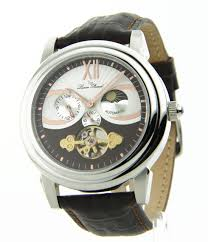 lucien piccard mens skeleton automatic leather watch item specifics