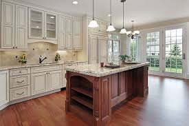 off white country kitchens. Wonderful Off Beautiful Country Kitchen With Off White Raised Panel Cabinet Doors And  Brown Stained Island Intended Off White Country Kitchens
